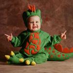 Карнавальный костюм Зеленый динозаврик на детей 12-18 мес.