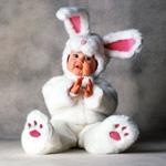 Меховой костюм Мой зайка (белый зайчонок) на детей 12-18 мес.
